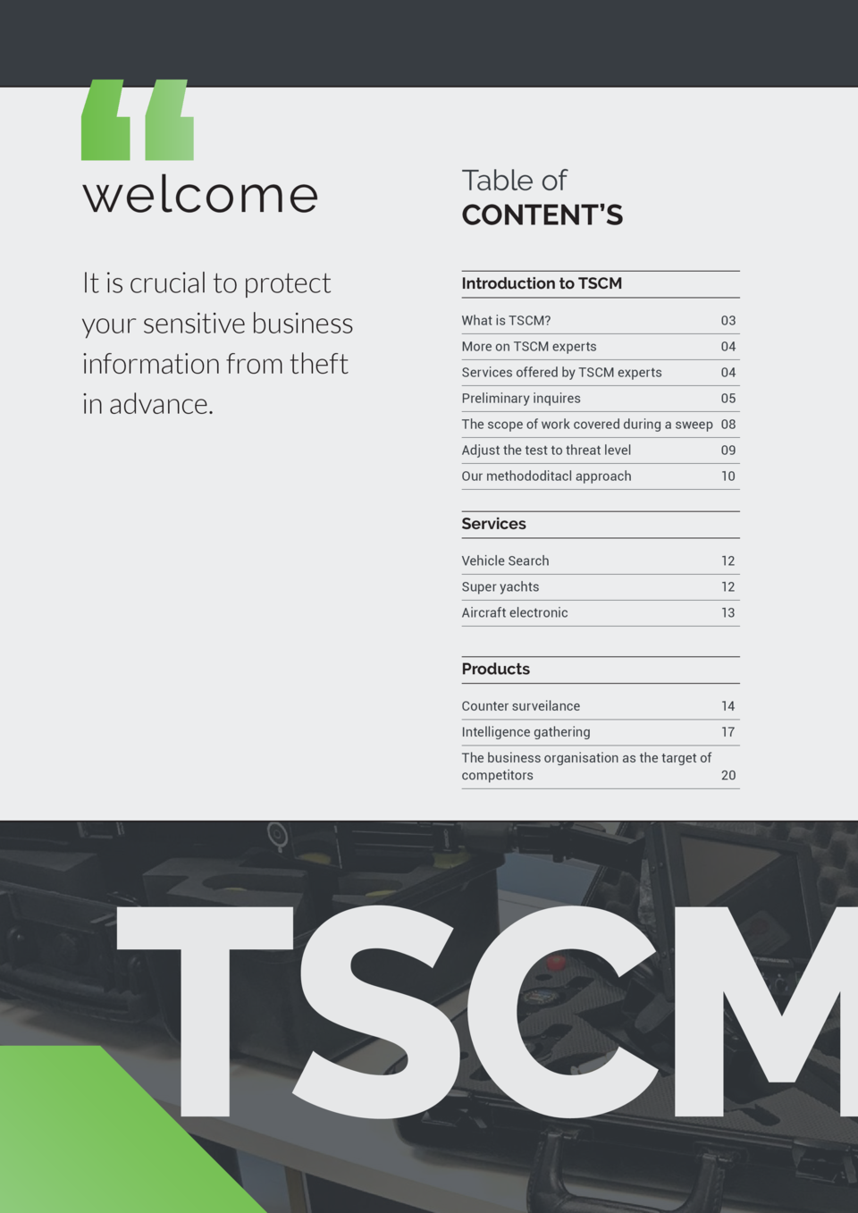 welcome  Table of CONTENT   S  It is crucial to protect your sensitive business information from theft in advance.  Introd...